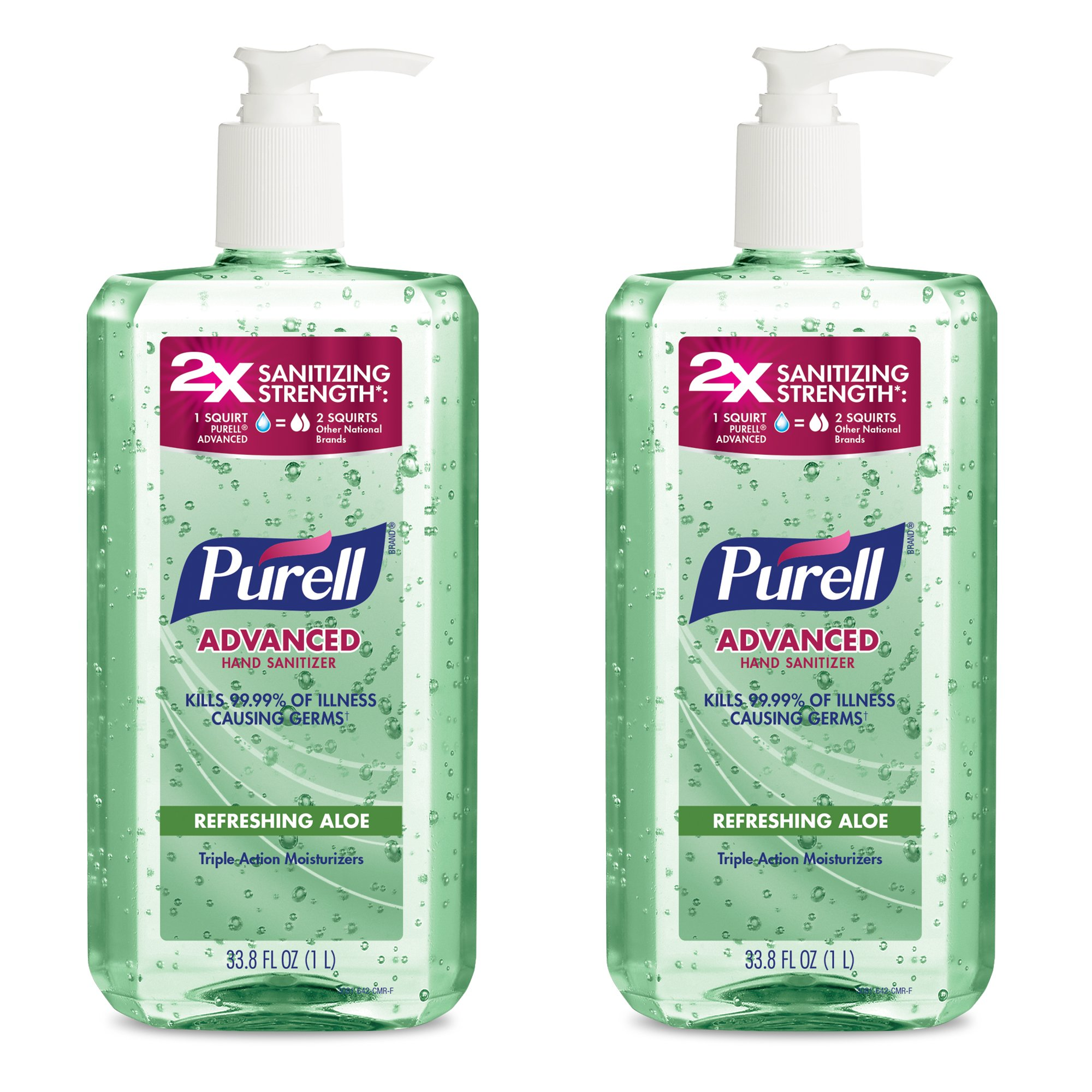 PURELL 3081-02-EC Advanced Hand Sanitizer - Hand Sanitizer Gel with Refreshing Aloe, 1L Pump Bottle (Pack of 2)