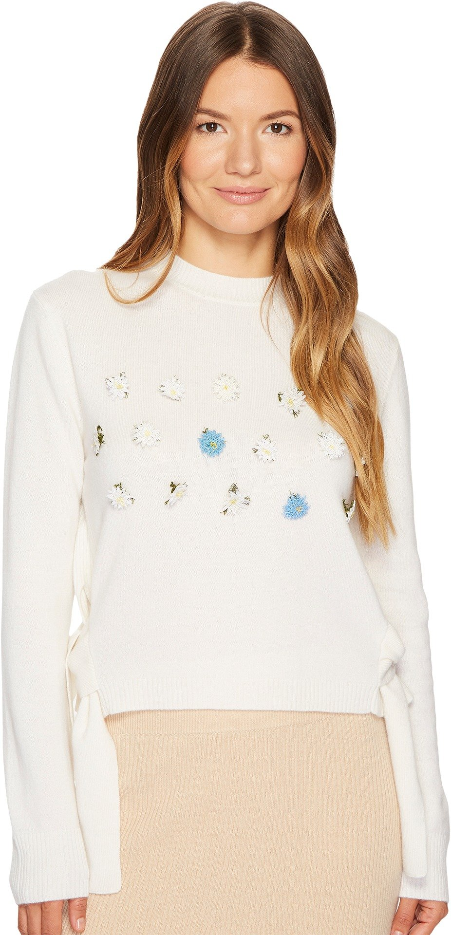 Cashmere In Love Women's Daisy Oya Embroidered Pullover Off-White Large