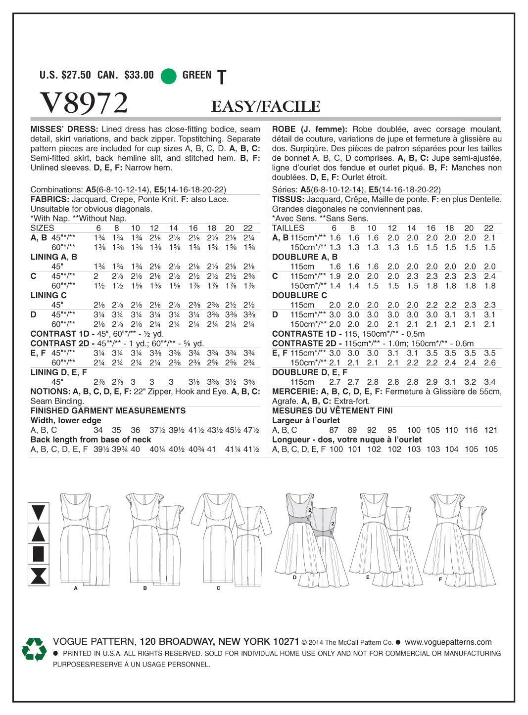 Vogue V8972 A5 6//8// 10//12// 14 Multicolore Cartamodelli per Abiti da Donna