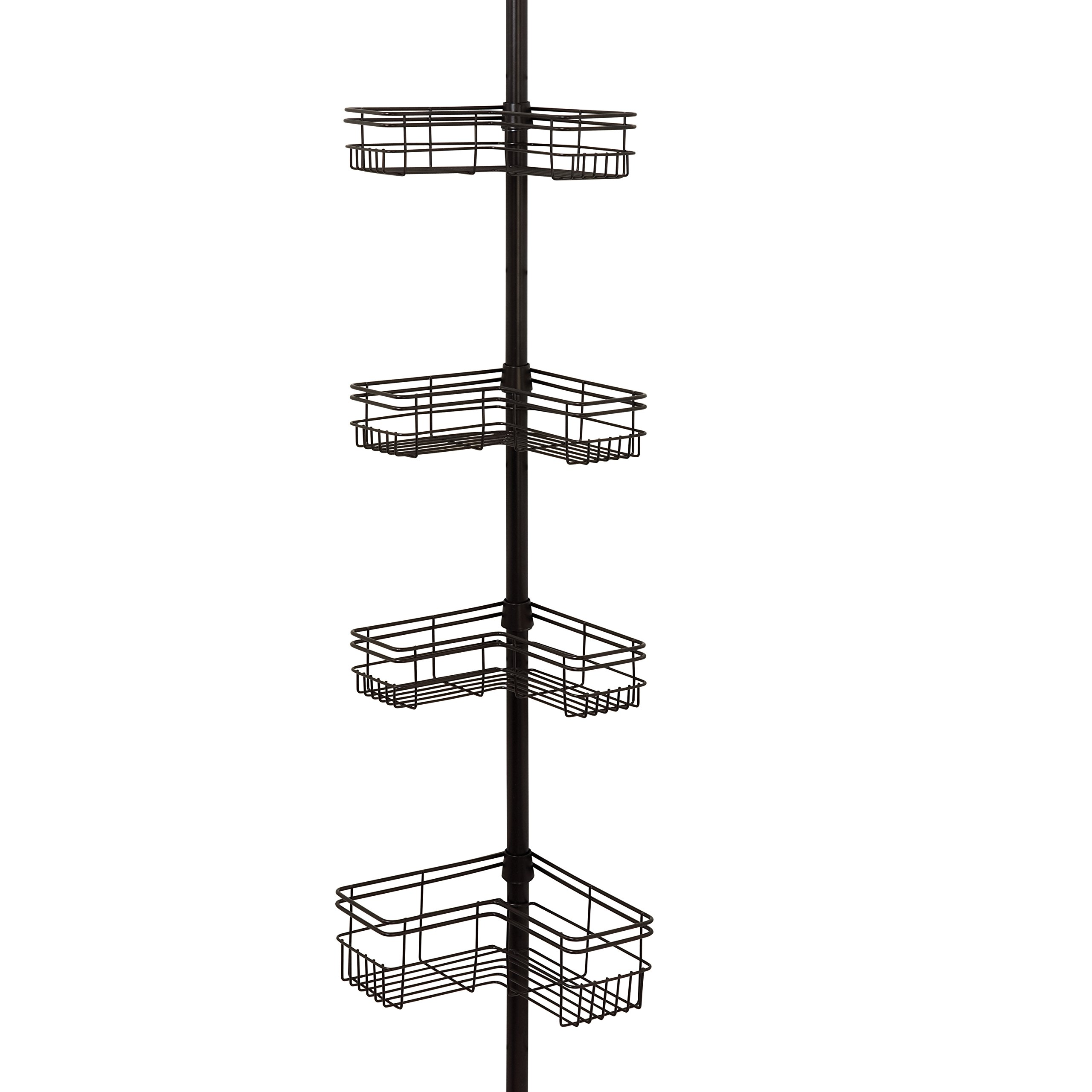 Zenna Home E2130HB Tension Corner Pole Caddy, Bronze