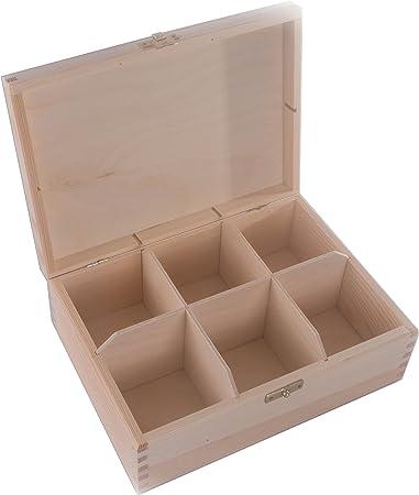 SEARCHBOX De Madera Caja de almacenaje con 6 Compartimentos/con Tapa/Caja de té/sin pintar/22 x 16,5 x 7,8 cm: Amazon.es: Hogar