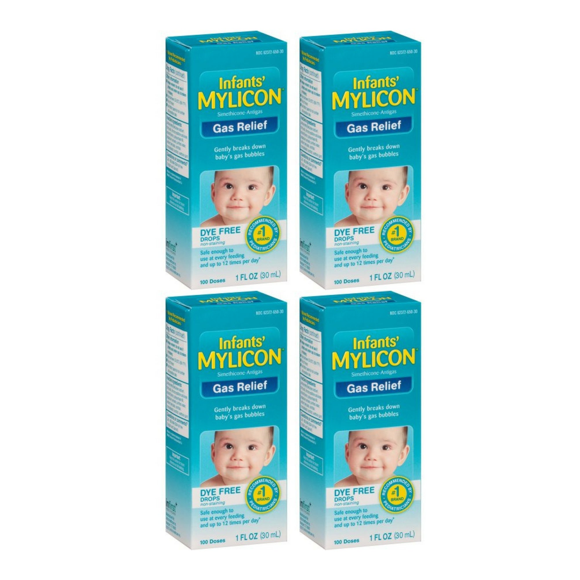 Mylicon Infants' Dye Free Gas Relief 100 Doses, 1 Fl Oz - 4 Boxes