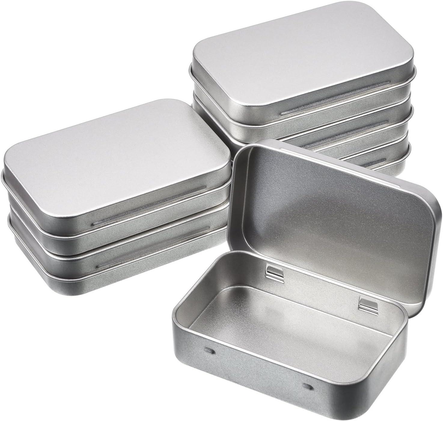 Shappy Latas de Bisagra Rectangular Contenedor de Almacenaje Caja Portátil de Metal Plateado Mini Estuche, Organizador de Hogar, 3,75 x 2,45 x 0,8 Pulgadas, 6 Piezas