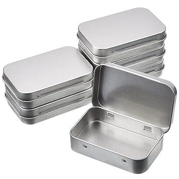 Latas de Bisagra Rectangular Contenedor de Almacenaje Caja Portátil de Metal Plateado Mini Estuche, Organizador de Hogar, 3,75 x 2,45 x 0,8 Pulgadas, ...