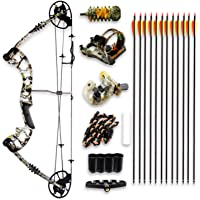 SereneLife Complete Compound Bow & Arrow Accessory Kit, Adjustable Draw Weight 30-70 lbs with Max Speed 320 fps - Right Handed (SLCOMB15ST)