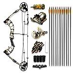 SereneLife Kit Completo de Accesorios de Arco y Flecha Compuesto Mejorado, Peso de Arrastre Ajustable 30 – 70 Libras con...