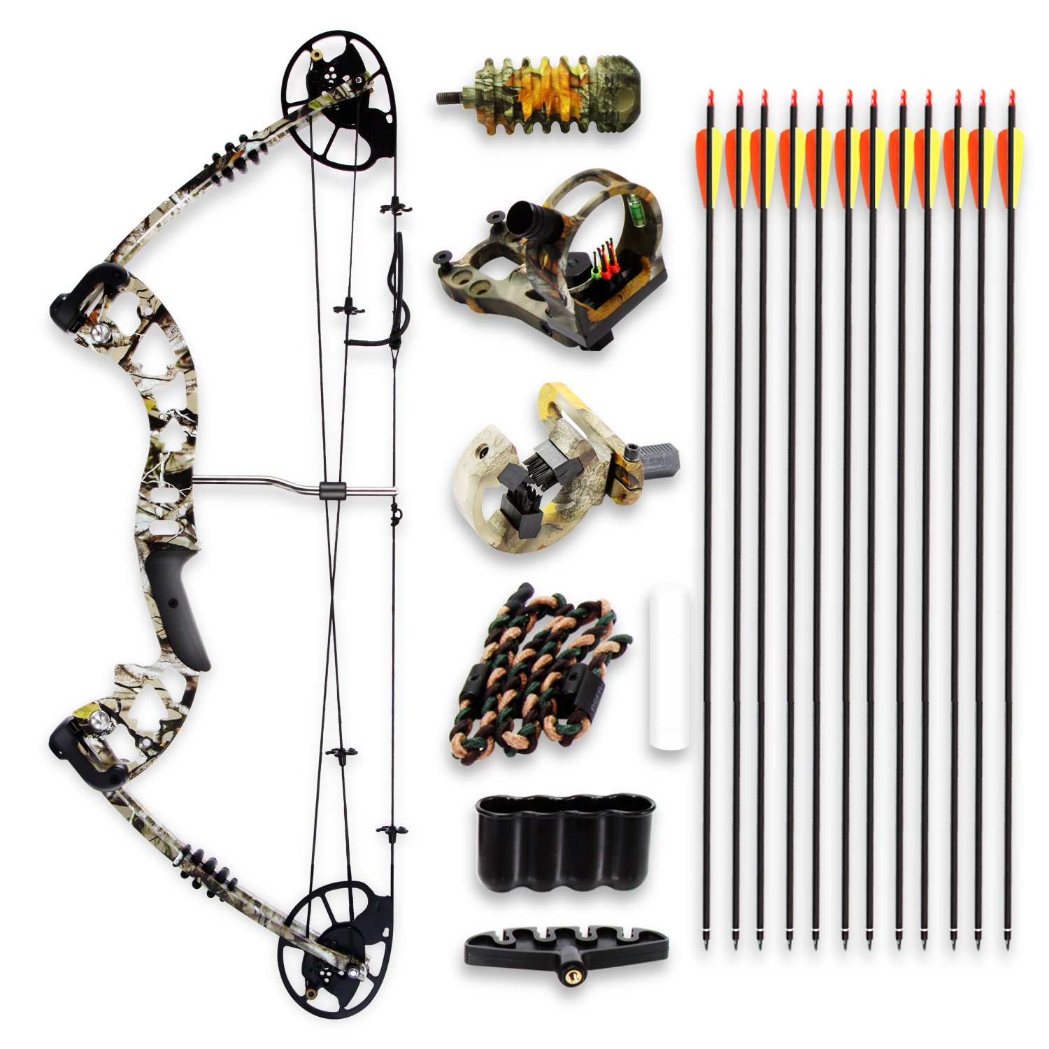 Camo Hunting Archery Compound Bow - 320 FPS Camoflauge Gear w/Fiberglass Limb, Peep Sight, 30-70 lbs Adjustable Draw Weight, 23.5''-30.5'' Length, Metal Riser 4 String Silencers - SereneLife by SereneLife