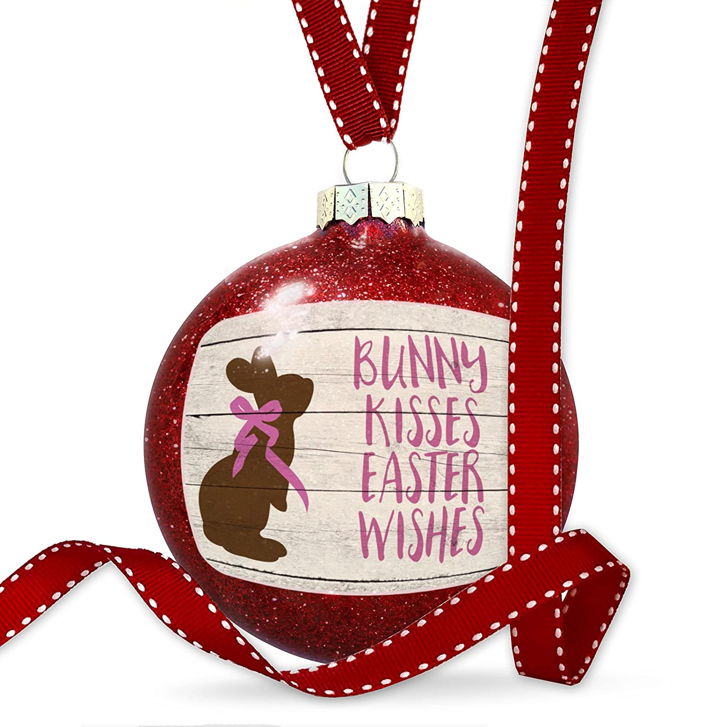 Amazon.com: Christmas Decoration Bunny Kisses Easter Wishes Rustic ...
