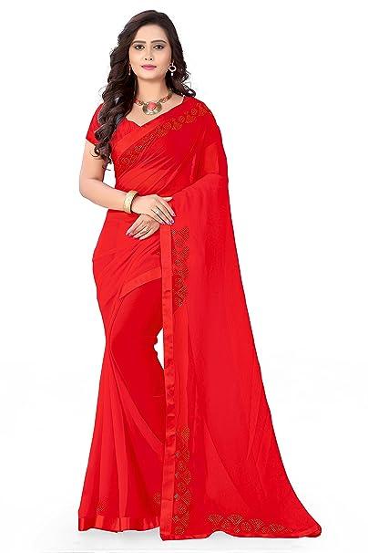 2b1e630f68 Riva Enterprise women's Georgette stone work red color saree with blouse  (RIVA56_): Amazon.in: Clothing & Accessories