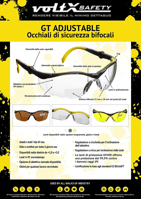 4d83e25e44 voltX 'GT' Gafas de seguridad de lectura bifocales adjustables, safety  glasses (TRANSPARENTE dioptria +3.0) Certificado CE EN166FT, ...
