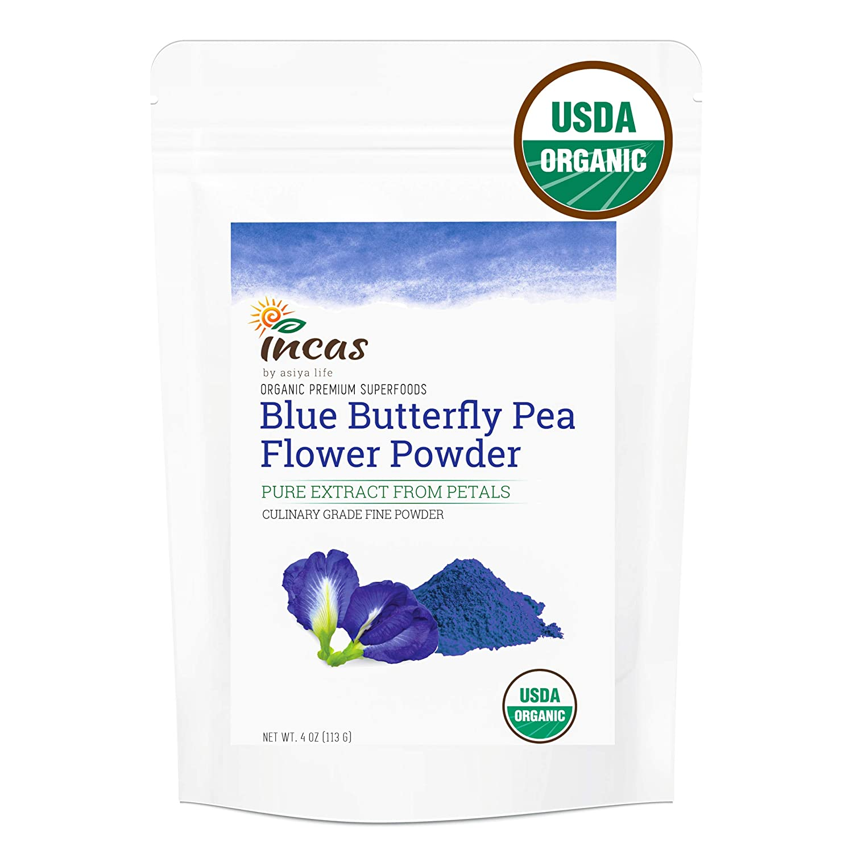 Incas USDA Organic Butterfly Pea Flower Powder, Premium Extract From Petals, Highest Culinary Grade From Thailand, Organic Blue Matcha Tea Powder, Organic Blue Food Coloring, Non GMO, Vegan