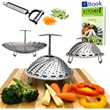 """Premium Vegetable Steamers Basket - 5.5-9.3"""" - Extendable Handle, Long Foldable Legs with Silicone Feet - Bonus Duo Julienne Peeler & Steaming eBook - 100% Stainless Steel - Kitchen Accessory"""