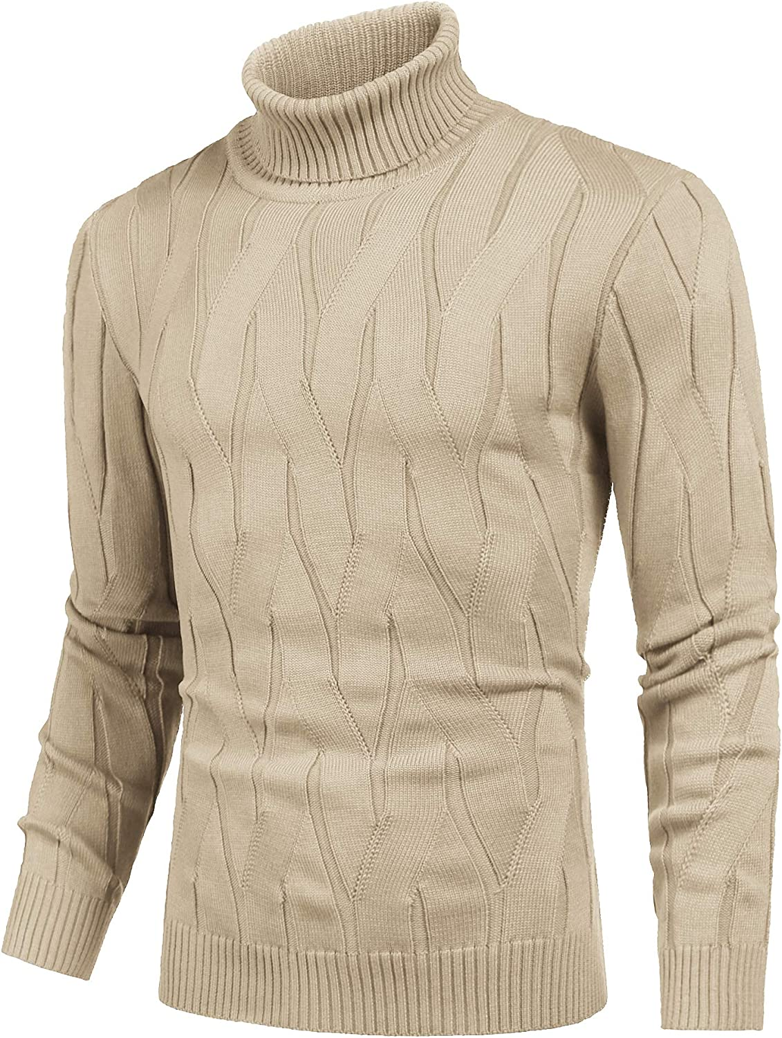 COOFANDY Mens Slim Fit Turtleneck Sweater Casual Knitted Pullover Sweaters