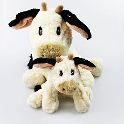 'Cow' Milkshake High Quality Stuffed Toy with Collar, Workmanship and Materials Make This Softweichen Farm Friends To A Great Friend and Adorn 38 cm x 28 cm 2 er Set KUH GROSS UND KLEIN: Hogar