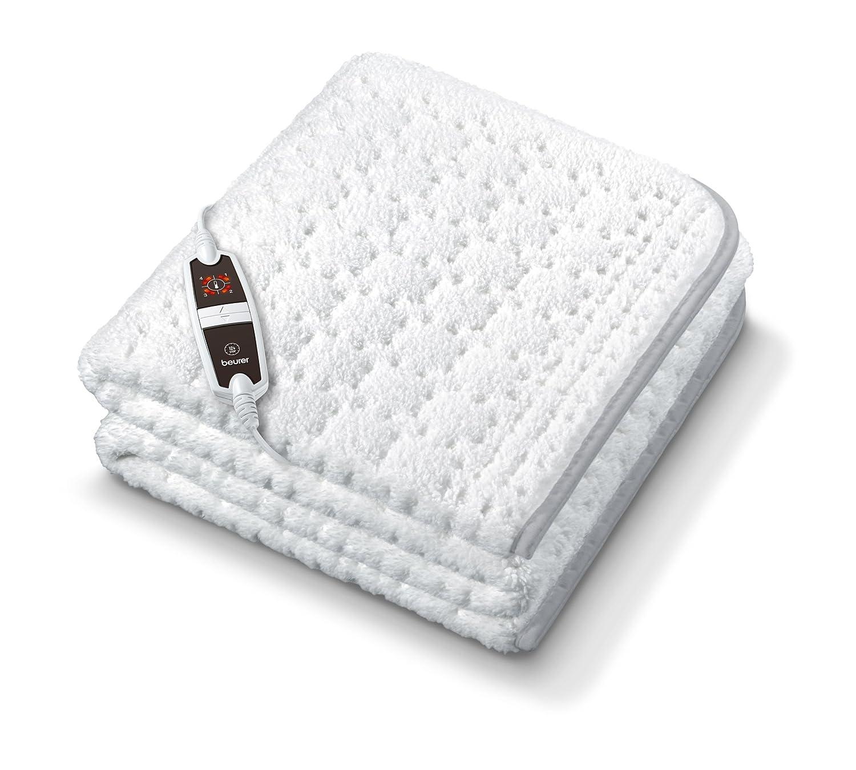 Beurer 314.78 UB 65 elektrisches Wärmeunterbett mit super weicher Oberfläche und verstärkt beheizter Fußzone - nie mehr kalte Füße im Bett, weiß weiß