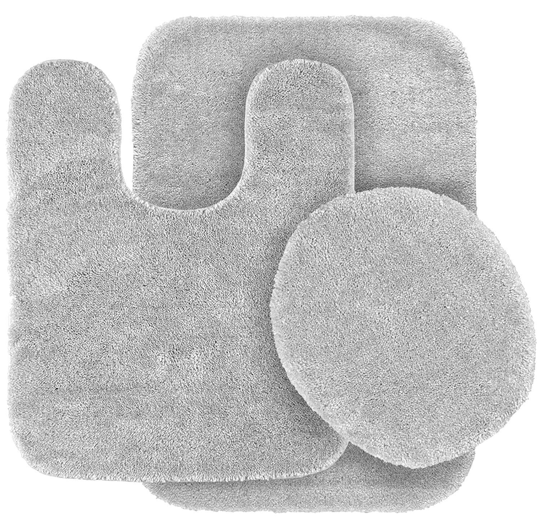 Fancy Linen 3pc Non-Slip Bath Mat Set Solid Silver/Light Grey Bathroom U-Shaped Contour Rug, Mat and Toilet Lid Cover New #Angela