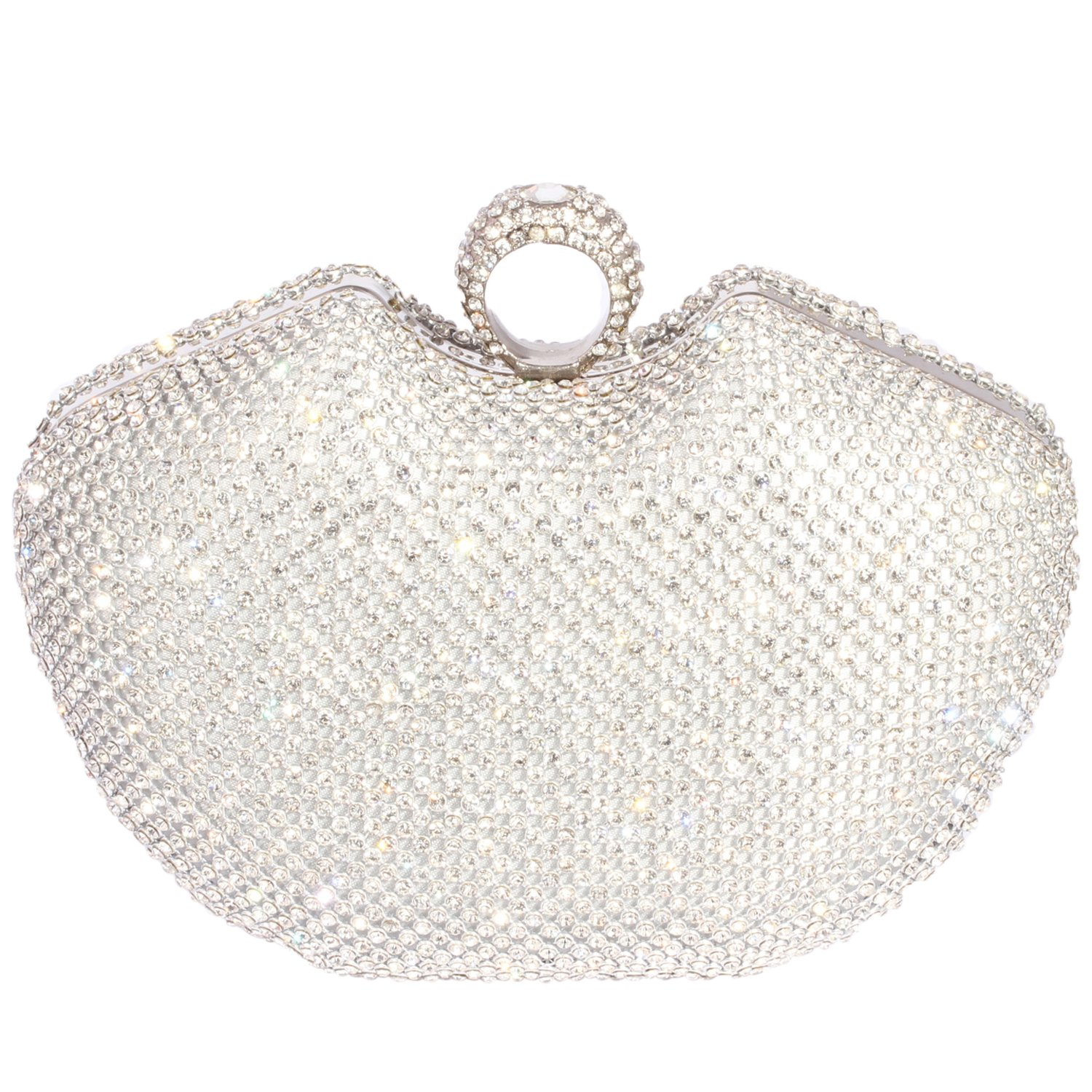 Digabi Shiny Rhinestone Wedding Clutch Purse Cherry Shape women Crystal Evening Clutch Bags (One Size: 6.3x4.8x2.6 IN, Silver)