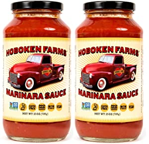 Hoboken Farms Marinara Gourmet Pasta Sauce - Keto Certified, No Sugar Added, Non GMO Project Verified, Kosher, Vegan, Plant Based, Keto & Paleo Friendly, Whole Tomatoes and Pure Olive Oil (2-Pack)