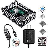 Smraza Raspberry Pi 3B+ ケース ラズベリー・パイ3 Model B+ ケース +2.5A 電源アダプター + ファン+ヒートシンク 黒白ケース ラズパイ3 2 Model Bとも対応(Raspberry Pi 3 Model B 本体含まりません) (SW13-B)