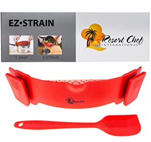 Latest Kitchen Red Clip-on Strainer. BEST for Straining Meat Grease, Pasta, Eggs, Rice, Fruits & Vegetables - BPA Free FDA Approved - Includes Bonus Matching Silicone Spatula - Makes a Great Gift!