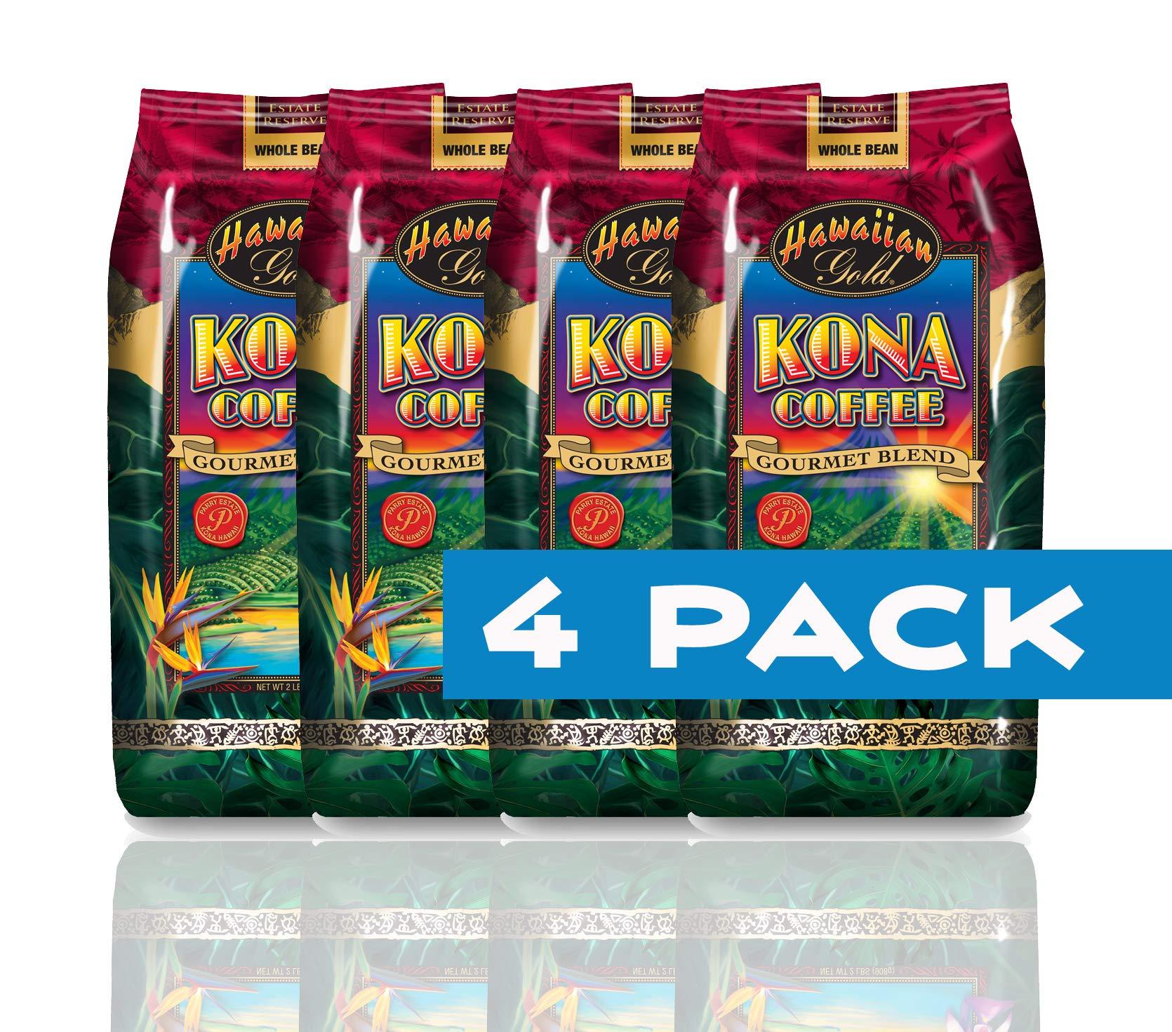 Hawallan Gold Kona Blend Coffee, 2 Pound … (Kona Gourmet Blend, 4 Bag) by Hawaiian Gold (Image #1)