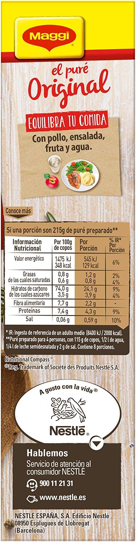 Maggi Puré de Patatas Natural - Puré Sin Gluten - 8 raciones ...