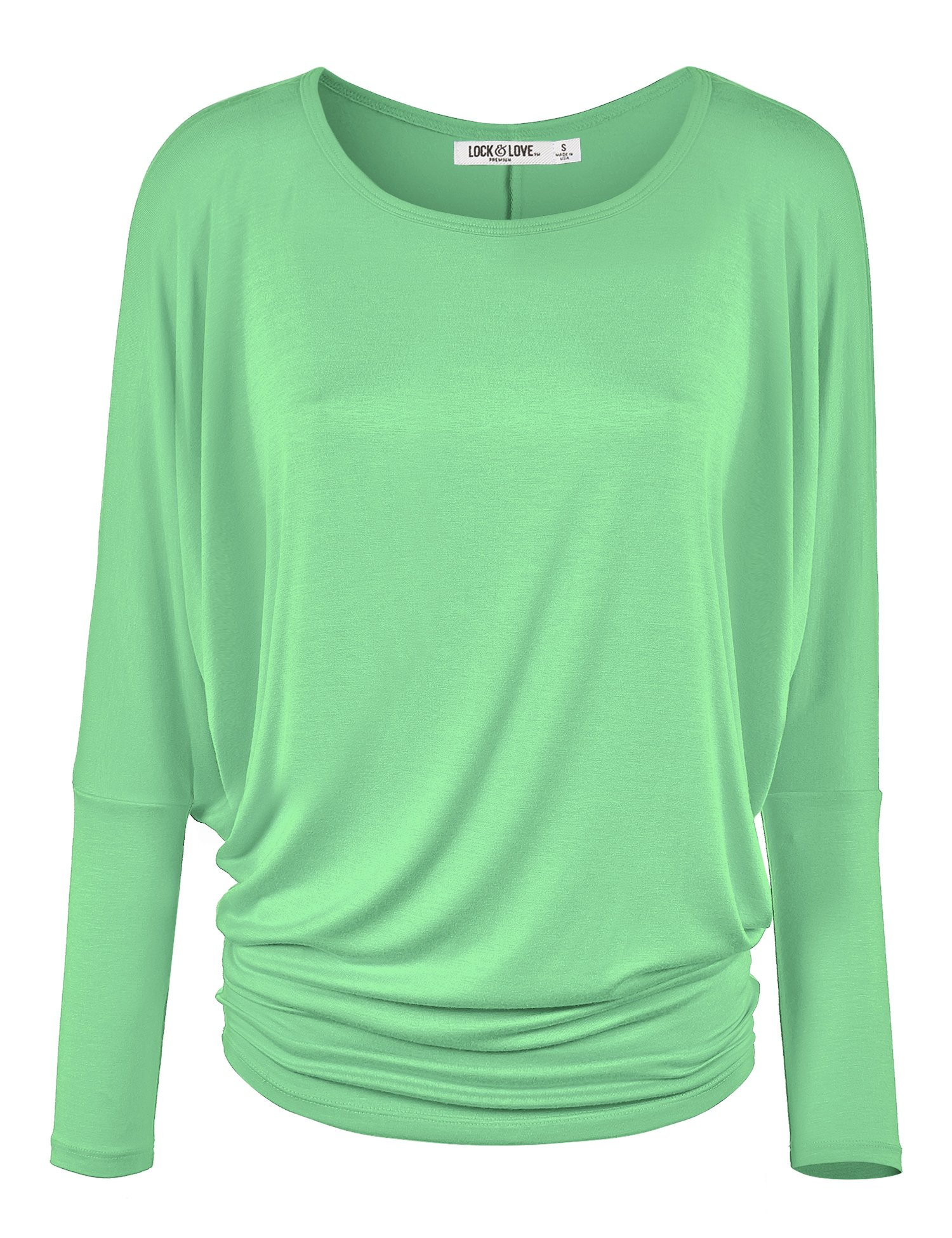 Lock and Love WT826 Womens Batwing Long Sleeve Top M Mint