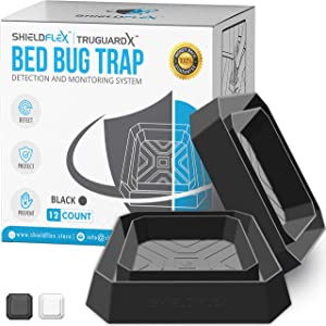 Bed Bug Trap — 12 Pack | TruGuard X Bed Bug Interceptors (Black) | Eco Friendly Bed Bug Traps for Bed Legs | Reliable Insect Detector, Interceptor, and Monitor for Pest Control and Treatment