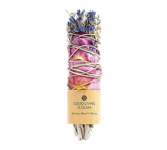 Floral Sage Smudge Stick with Rose Petals & Lavender