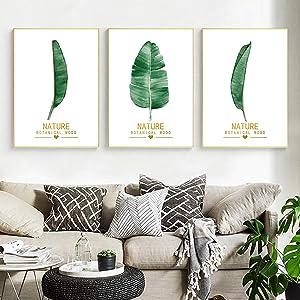 "Banana Leaf Print Nordic Canvas Painting Nordic Fresh Poster Home Decor Minimalist Picture Living Room Decor -23.6""x 31.4""(60x80cm) x3 No Frame"