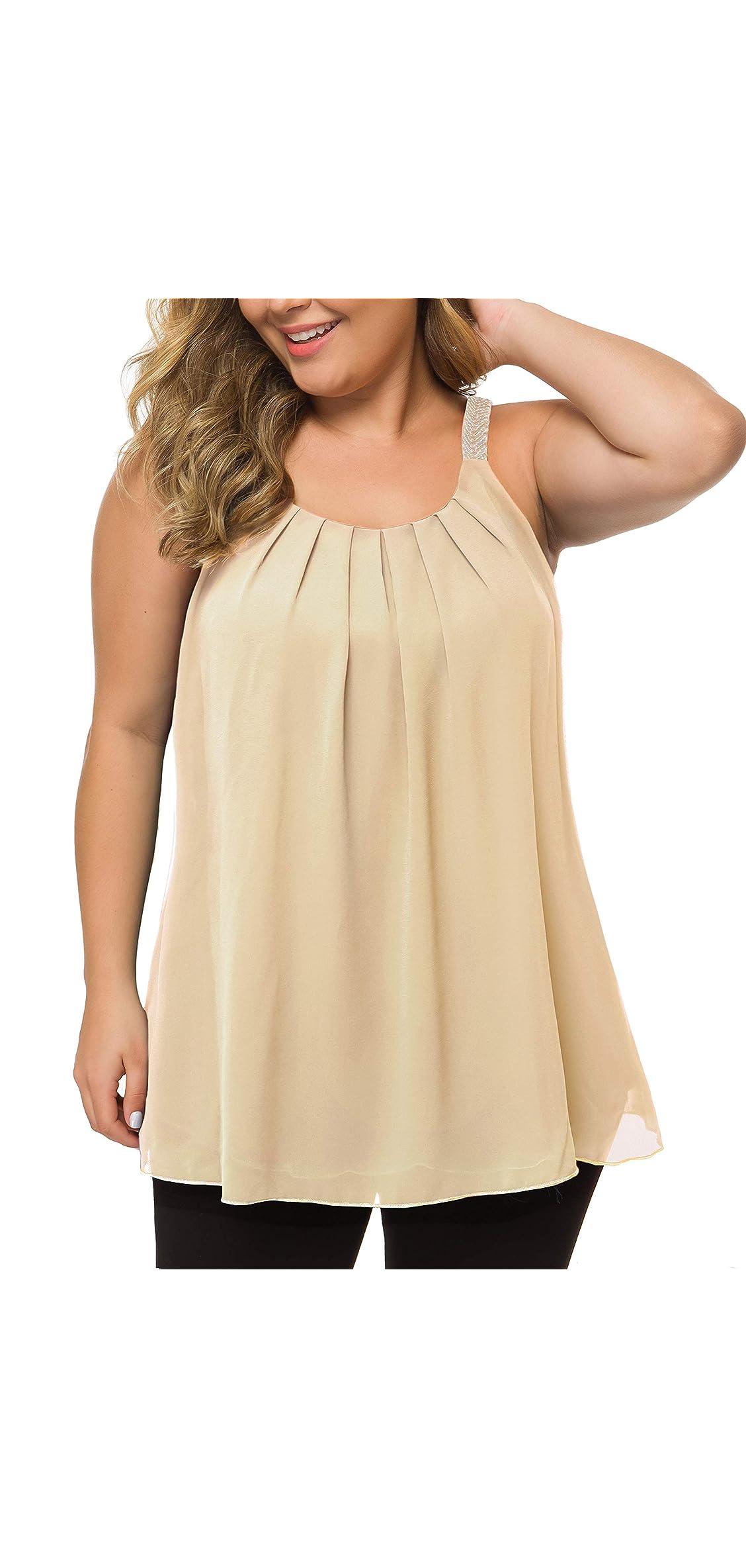 Women's Plus Size Cami Casual Pleated Chiffon Tank Top