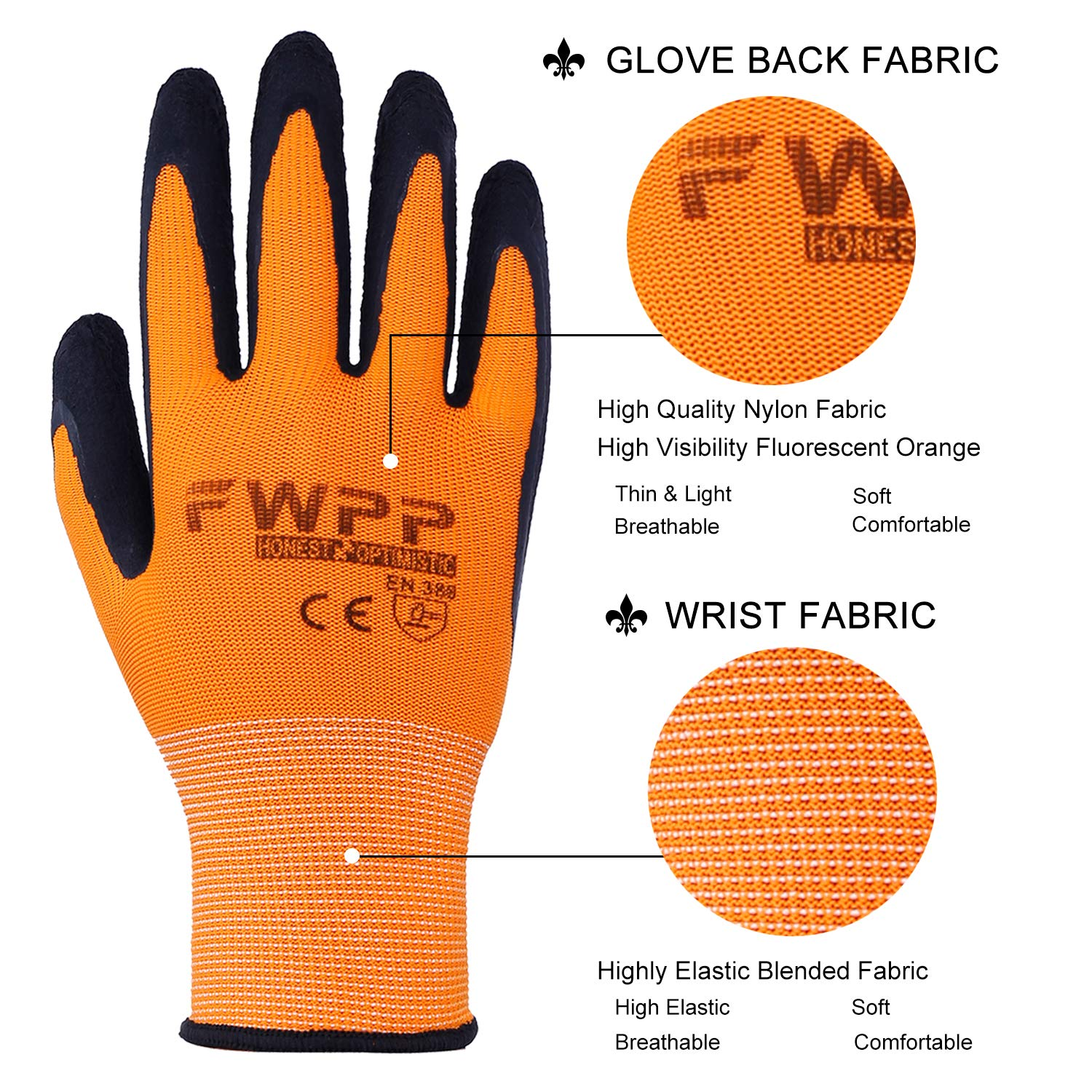 FWPP High Visibility Nylon Latex Foam Coated Work Gloves,Breathable Soft Wearproof Non-slip Comfortable Safety Protective Glove Pack of 12Pairs Large Fluorescence Orange by FWPP (Image #2)
