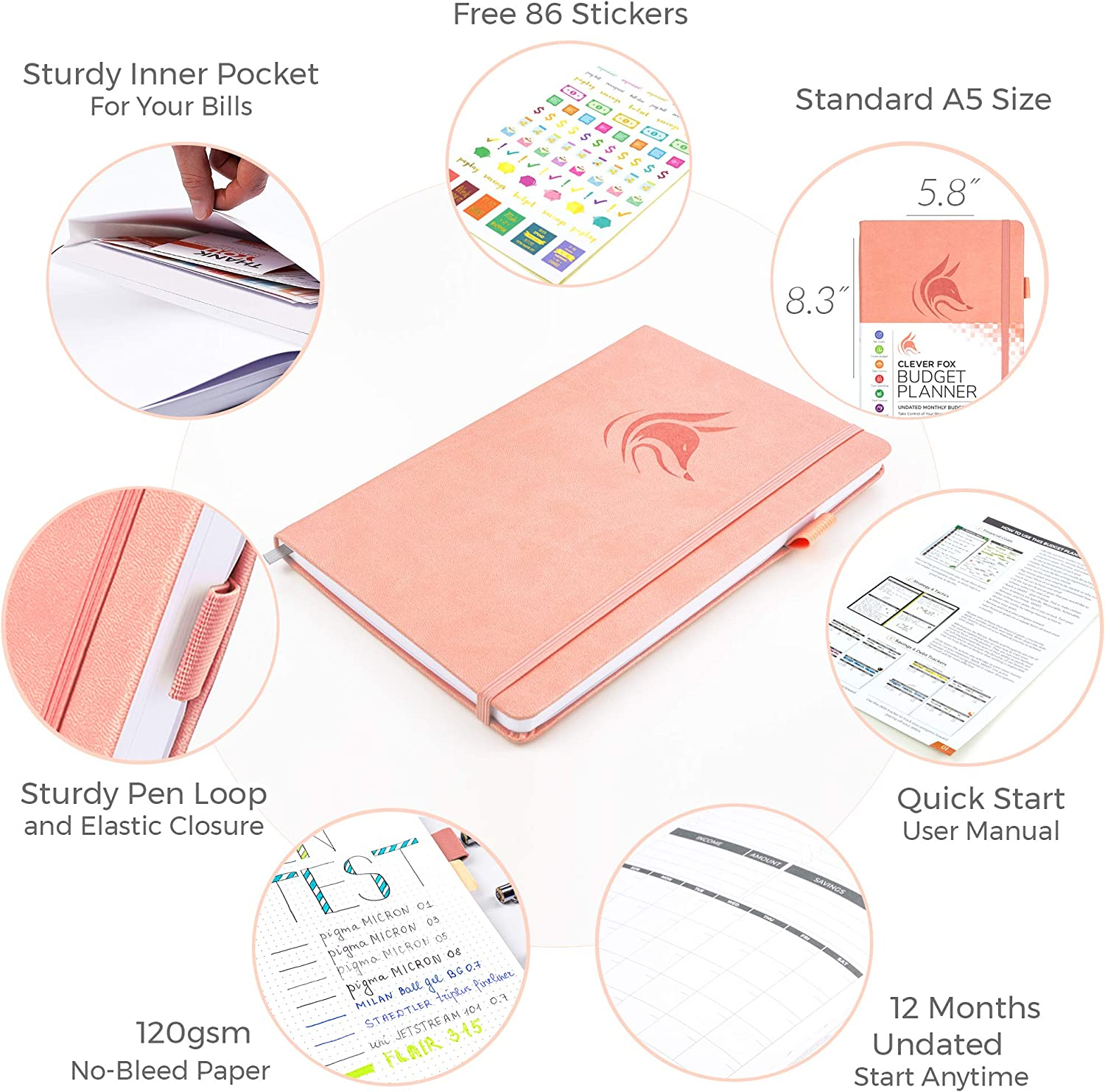Expense Tracker Notebook Start Anytime Monthly Budgeting Journal 14.25 X 21 cm Clever Fox Budget Planner A5 undatiert Undated Pfirsichrosa Finance Planner /& Accounts Book to Take Control of Your Money