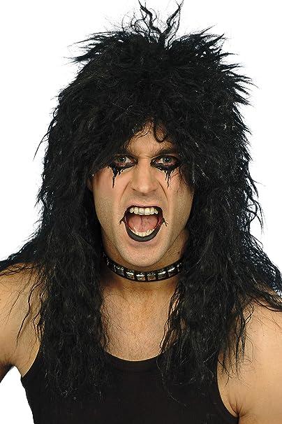 80s Blonde Black Hard Rocker Wig Mens Rock Star Rocker Fancy Dress