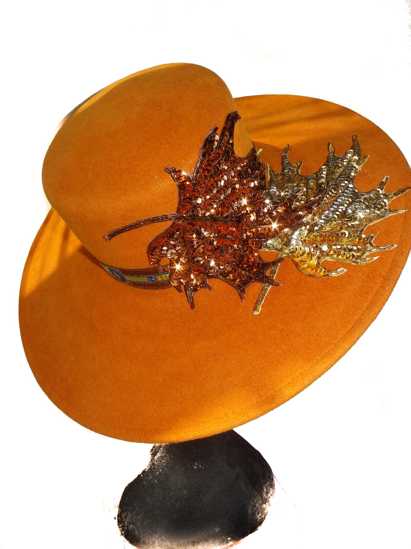 Style Of Individuality Wide Brim Wool Felt Hat In FALL'S Pumpkin, West's Turquoise, With Sparkles! by Style Of Individuality (Image #1)