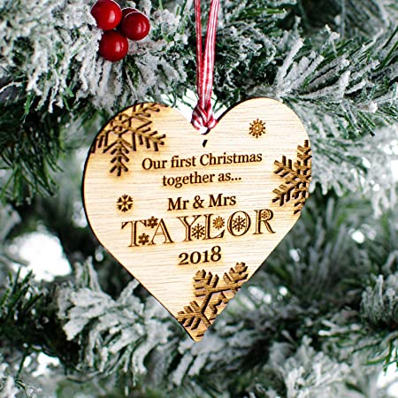 Christmas Home Decors Celebration & Occasion Supplies Personalised Our First Christmas Together Heart Bauble 1st Xmas Tree Ornament