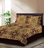 Bombay Dyeing 120 TC Cotton Double Bedsheet with 2 Pillow Covers - Brown