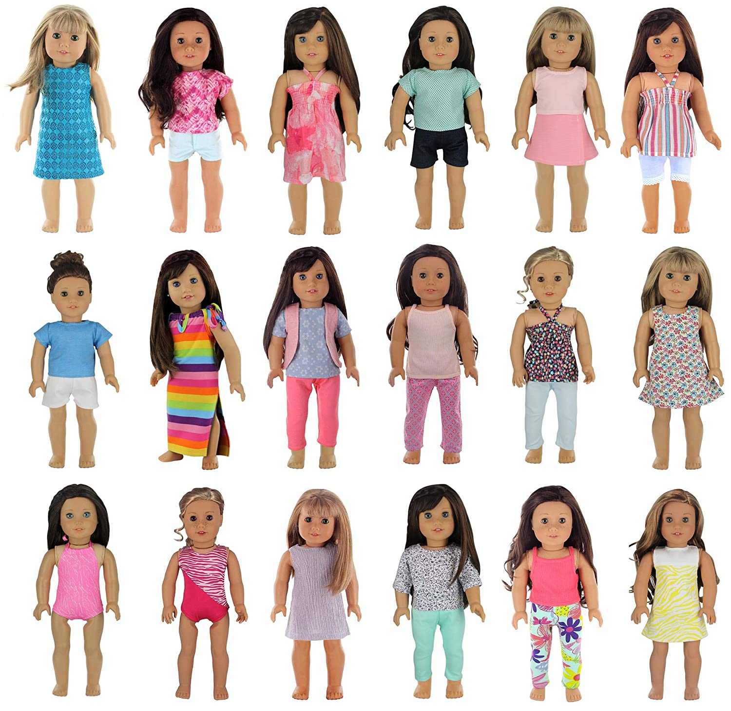 PZAS Toys 18 Outfit Set, Compatible with American Girl Doll Clothes and Other 18 Inch Doll Clothes
