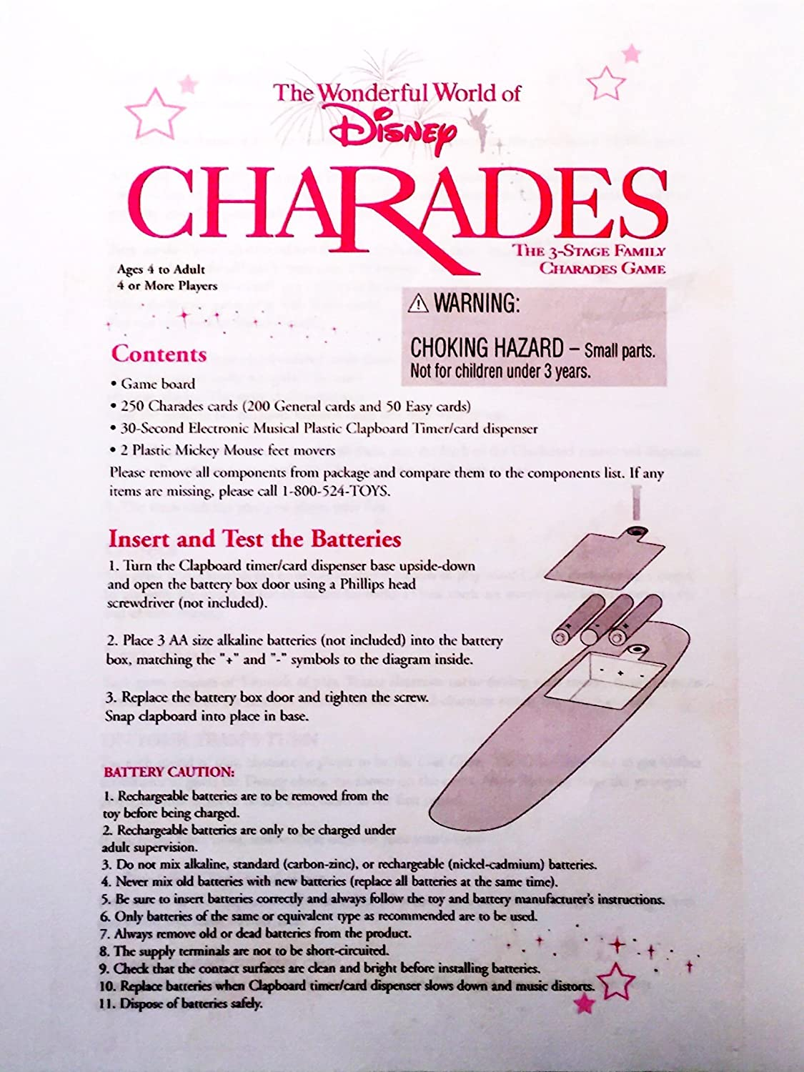 The Wonderful World Of Disney Charades By Mattel Toys Alkaline Battery Diagram Games