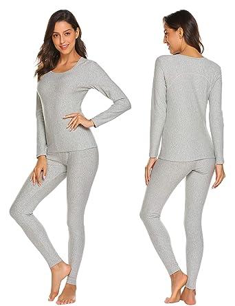 ce6be8023dc Ekouaer Womens Cotton Thermal Underwear Long Johns Winter Set Fleece  Lined