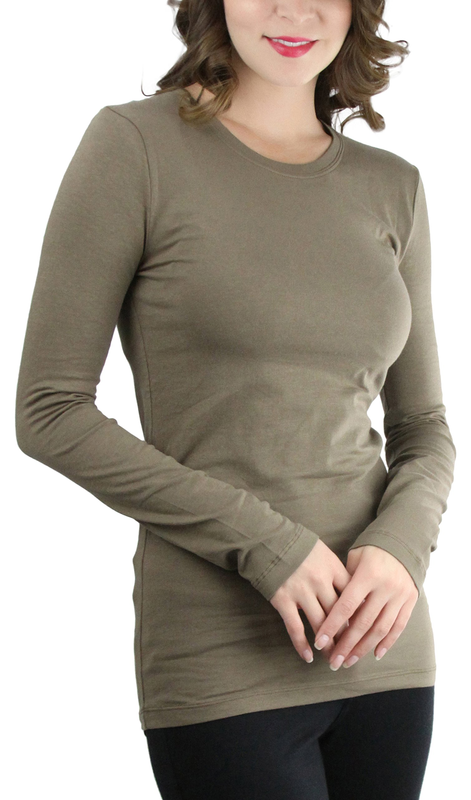 ToBeInStyle Women's Cotton-Blend Crew-Neck Staple Top With Long Sleeves (Medium, Mocha)