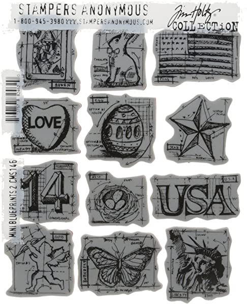 Stampers Anonymous Tim Holtz Cling Rubber Stamp Set Inch 7 by 8.5 Mini Blueprints #7