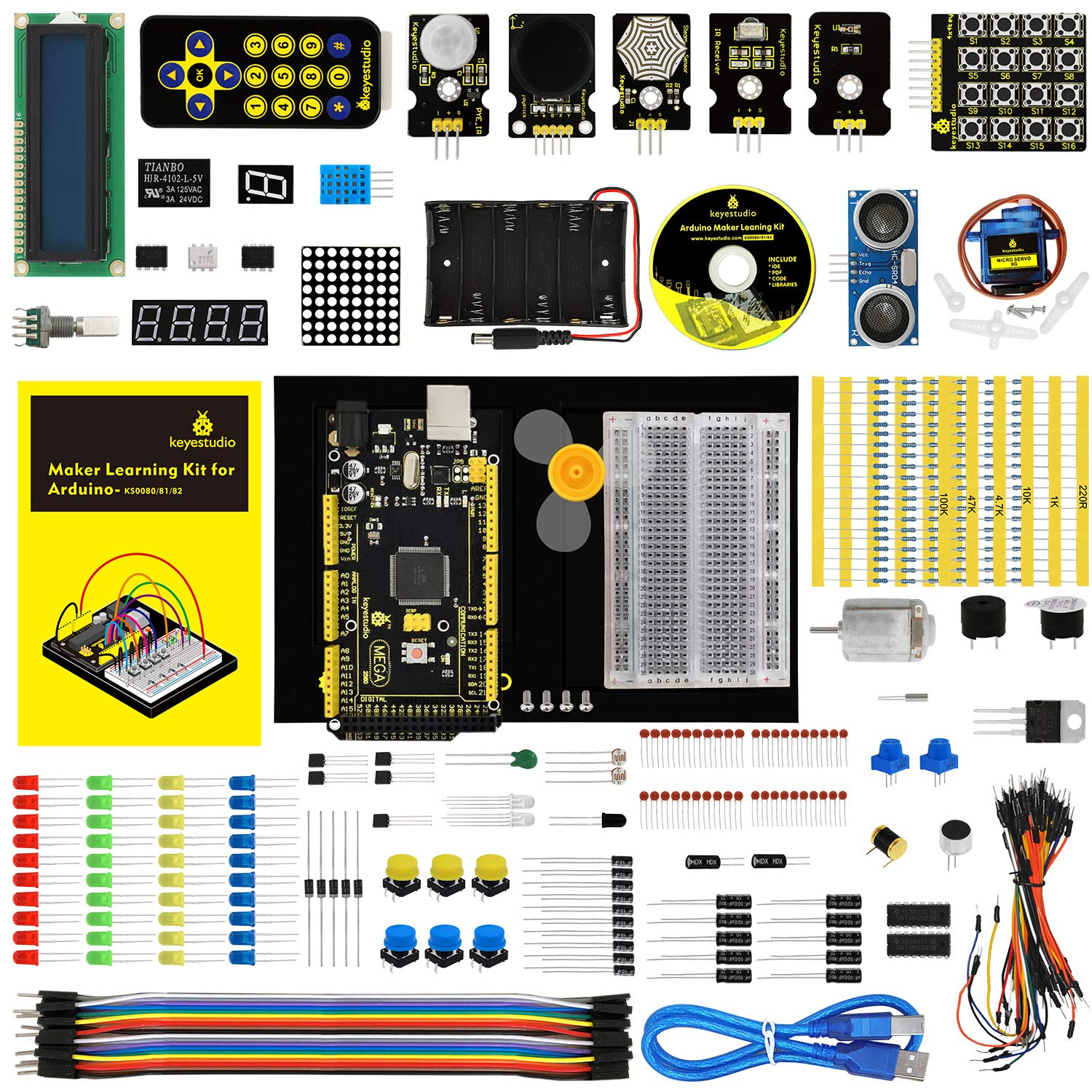 KEYESTUDIO for Arduino Starter Kit with Mega 2560 R3 and Holder (Also Available for Arduino UNO R3 Arduino Nano Pro Micro Mini Raspberry Pi