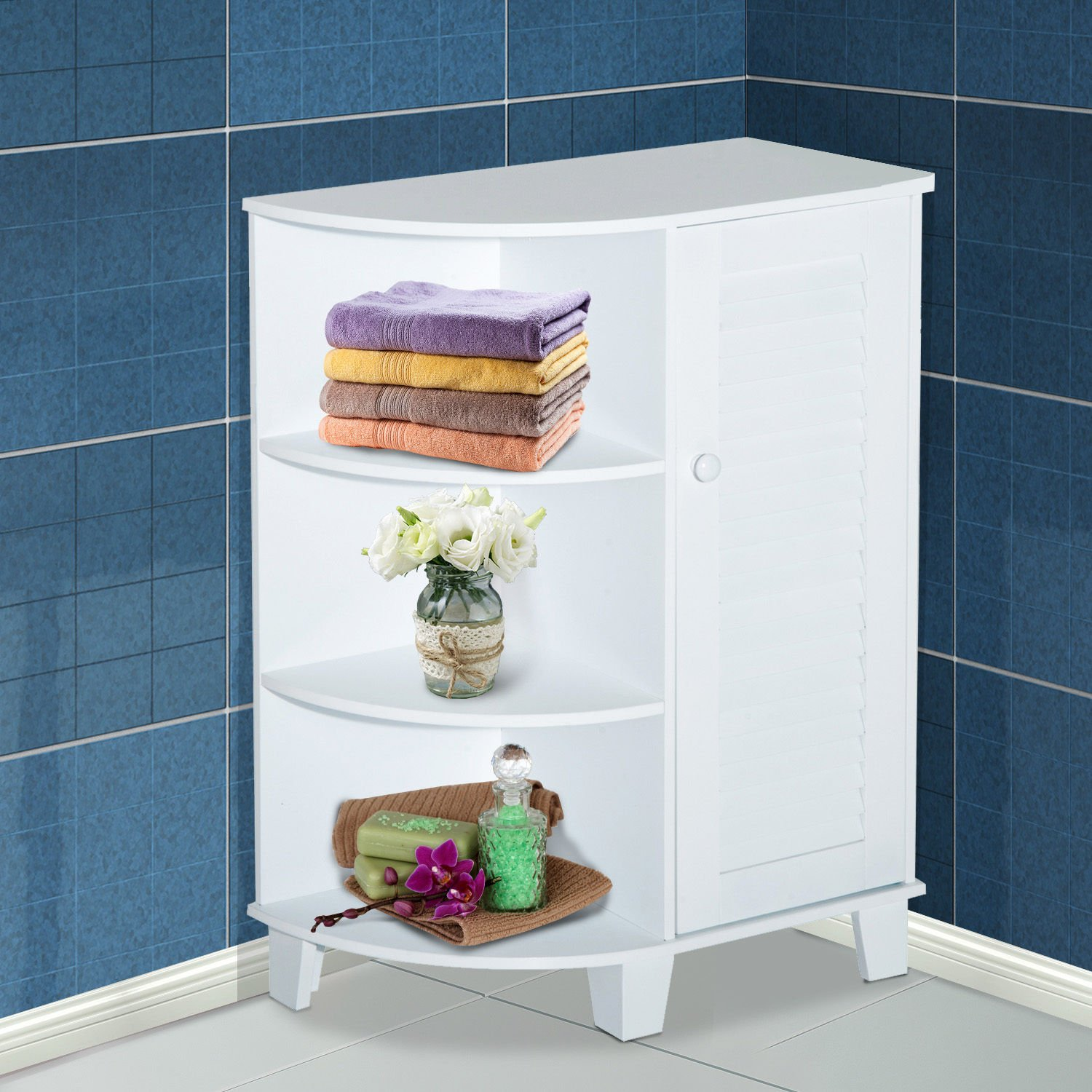 """HOMCOM 32"""" Modern Country Free Standing Bathroom Cabinet Cupboard with Rounded Shelves - White by HOMCOM (Image #2)"""