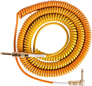 product image for Lava Morph Coil Instrument Cable Straight to Right Angle Oranges, Reds, Yellow, Brown 25 ft.
