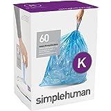 simplehuman Code K Custom Fit Recycling Liners, Tall Kitchen Drawstring Trash Bags, 35-45 Liter / 9-12 Gallon, 3 Refill Packs (60 Count), Blue