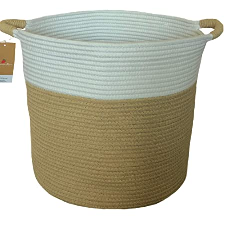 Raw Generation Woven Cotton Rope Storage Basket 15x15x14 Inches | Organic Nursery Hamper Bin And Organizer For Baby Blankets, Toys, Towels And Laundry by Raw Generation