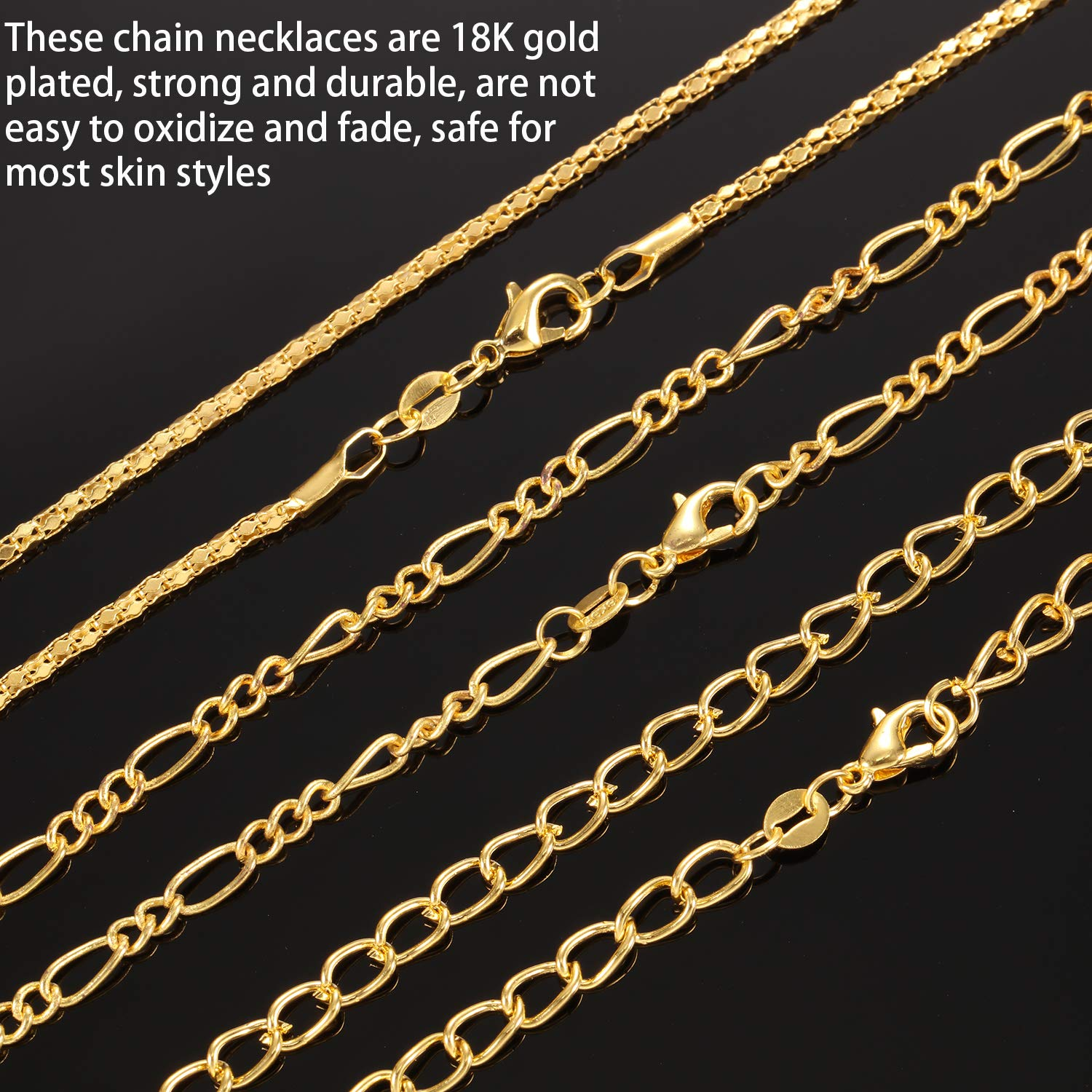 24 Pieces Different Styles Silver or Gold Plated DIY Chain Necklace for Jewelry Making Supplies and Craft 24 Inch, Silver