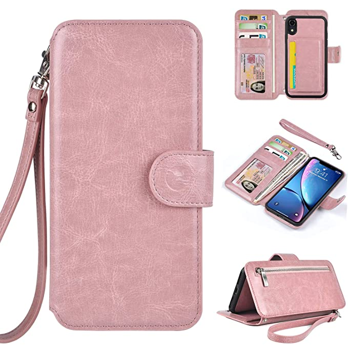 factory price f0eaa 43195 Humble Wallet Case Clutch Compatible with iPhone XR 6.1 - Wristlet Case  Boutique Quality Vegan Leather Rose Gold - with Card Holder Clutch Purse