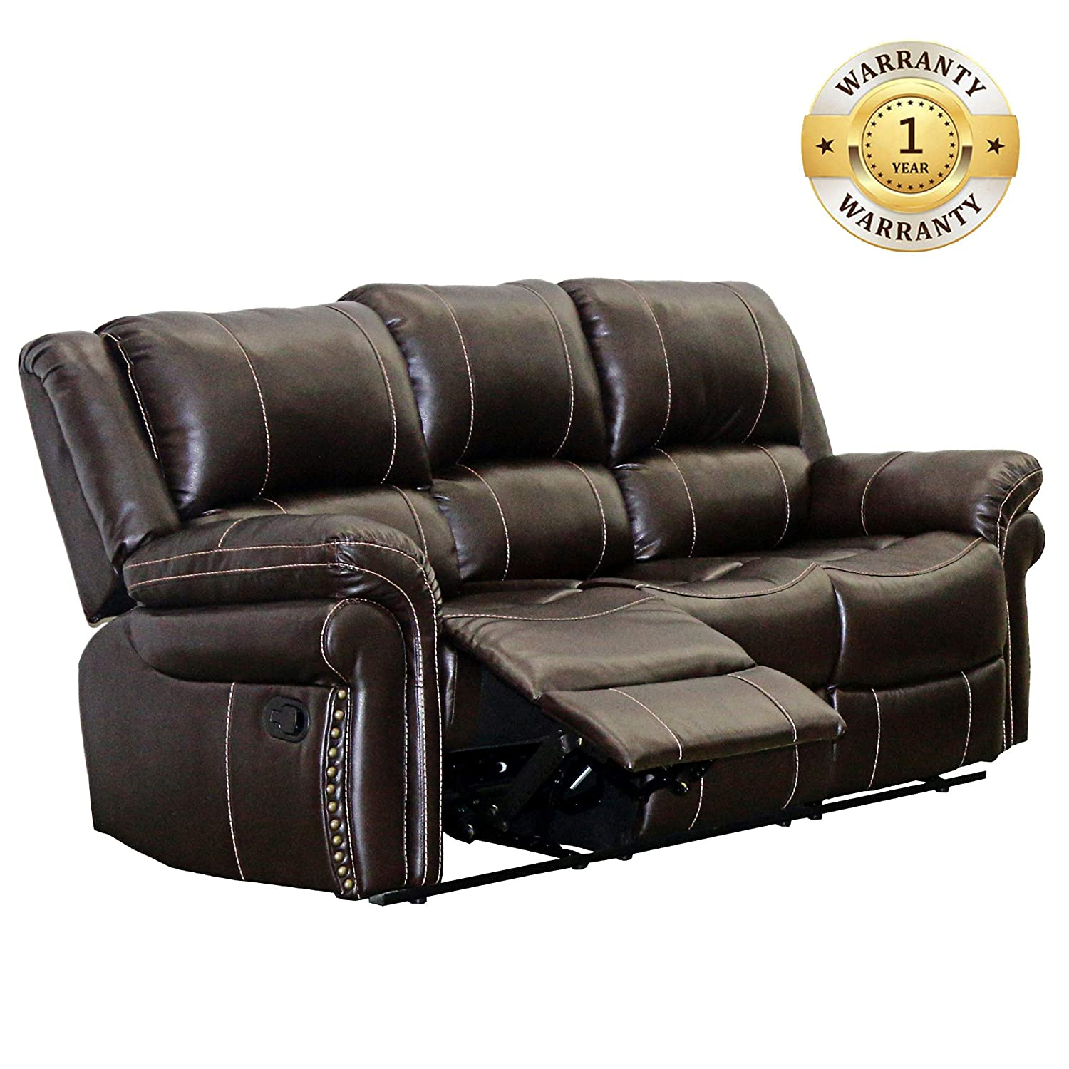 Terrific Windaze Double Recliner Sofa Classic 3 Seats Bonded Leather Reclining Couch For Living Room Brown Download Free Architecture Designs Grimeyleaguecom
